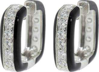 Graziela Diamond and Black Enamel Hoop Earrings