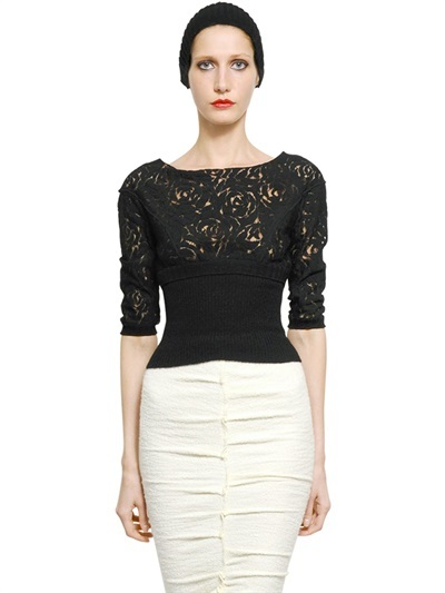 Nina Ricci Guipure And Ribbed Knit Top