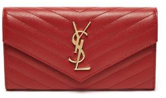 Saint Laurent Monogram Quilted Pebbled Leather Wallet - Womens - Red
