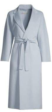 Max Mara Esturia Notch Collar Belted Virgin Wool Wrap Coat