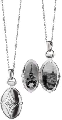 Monica Rich Kosann White Sapphire Bridle Locket Necklace