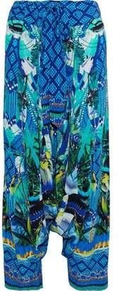 Camilla Amazon Azure Embellished Cutout Silk Crepe De Chine Wide-leg Pants