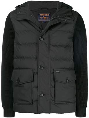 Woolrich knitted sleeve padded coat