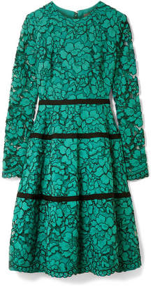 Lela Rose Grosgrain-trimmed Corded Lace Dress - Jade
