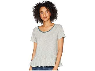 Lucky Brand Stripe Peplum Top Women's T Shirt