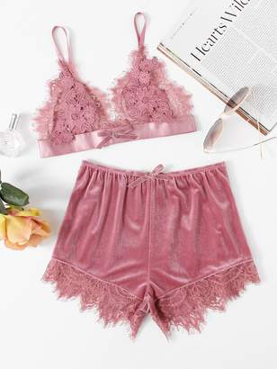368f1398d85 Shein Applique Detail Lace Bralette   Velvet Shorts Set