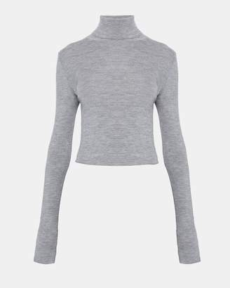 Theory Wool Long-Sleeve Crop Turtleneck