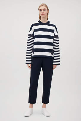 Cos KNITTED-NECK STRIPED SWEATSHIRT