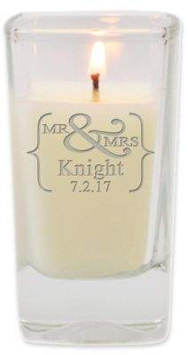 Carved Solutions Mr.& Mrs. Unscented Soy Wax Glass Votive Candle