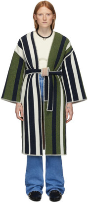 M Missoni Navy and Green Wool Striped Coat