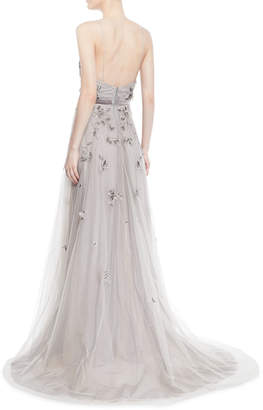 Marchesa Floral Beaded Tulle Gown w/ Sheer Capelet