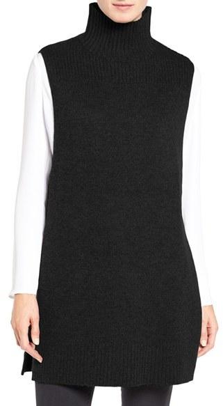 Women's Halogen Mock Neck Knit Sleeveless Pullover