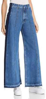 Ksenia Schnaider Contrast Wide-Leg Jeans in Medium Blue