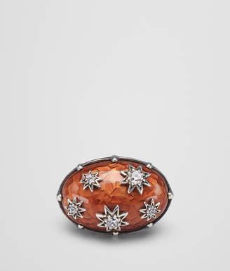 Bottega Veneta BROWN ANTIQUE SILVER STELLULAR RING