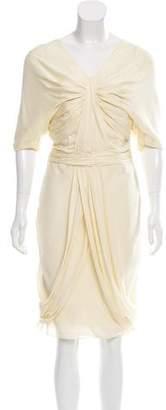 J. Mendel Pleated Crepe Dress