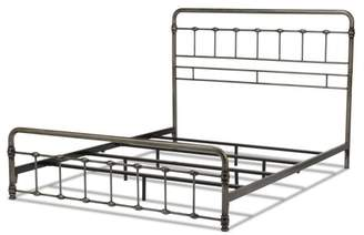 Rails Leggett & Platt Fremont Metal SNAP Bed with Folding Frame Bedding Support System and Rounded Edge Panels, Weathered Nickel Finish, King