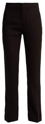 Chloé Straight Leg Crepe Trousers - Womens - Black