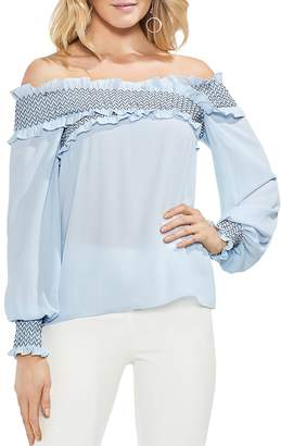 Vince Camuto Smocked Crossover Off-the-Shoulder Top