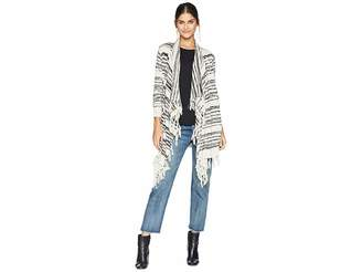 Chaser Linen Sweater Long Sleeve Fringe Trim Drape Front Cardigan