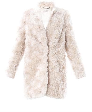 Stella McCartney Collarless faux-fur coat