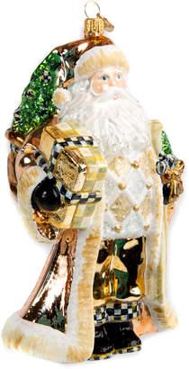 Mackenzie Childs Silver Lining Santa Glass Christmas Ornament