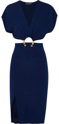 Haney - Kerr Embellished Cutout Silk-blend Crepe Dress - Navy