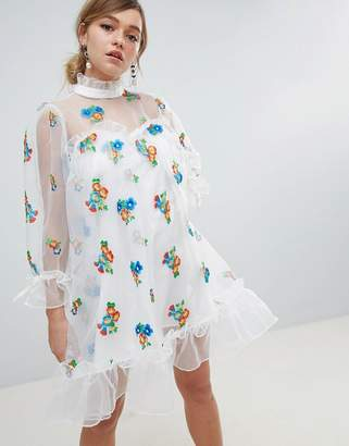 Sister Jane Organza Smock Dress With Gathered Cuffs And Floral Embroidery