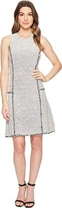 Ellen Tracy Women's Sleeveless Seamed Flounce Dress