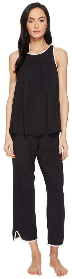 Kate Spade New York - Black Cropped PJ Set Women's Pajama Sets