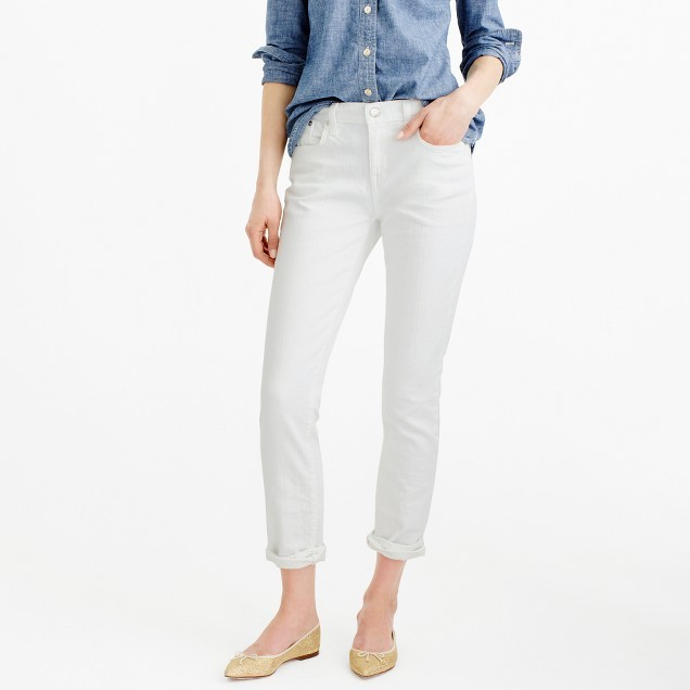 J.Crew Tall slim broken-in boyfriend jean in white
