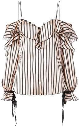 Self-Portrait ruffle striped cold shoulder blouse