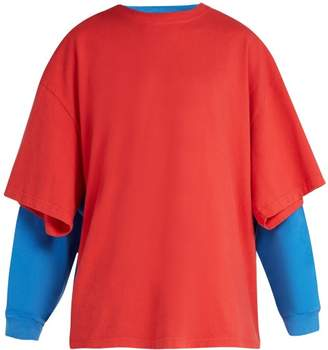 Balenciaga Double Layer Cotton T Shirt - Mens - Red