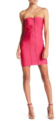 Wow Couture Strapless Laced Front Bandage Dress