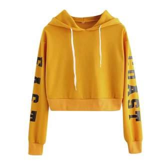 Elogoog Hoody Women's East Coast Long Sleeves Letter Print Hoody Sweatshirt Casual Crop Top Hoodies (S, )