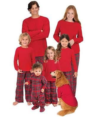 Leezeshaw Red Flannel Stewart Plaid Matching Family Christmas PJS Pajama Set