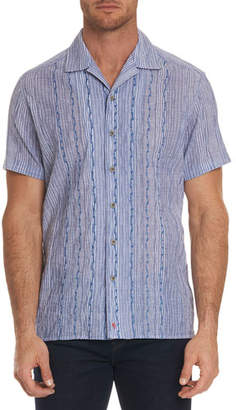 Robert Graham Men's Tarpon Classic Fit Embroidered Striped Linen Sport Shirt