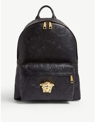 Versace Embossed floral leather backpack