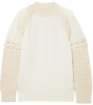 Two-tone Paneled Cotton-blend Sweater - Ecru