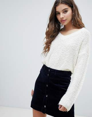 JDY boucle texture v neck sweater