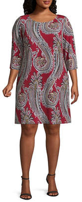MSK 3/4 Puff Sleeve Paisley Shift Dress-Plus