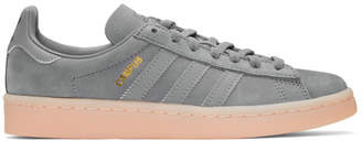 adidas Grey and Pink Suede Campus Sneakers