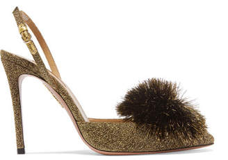 Aquazzura Powder Puff Pompom-embellished Lurex Slingback Pumps - Gold