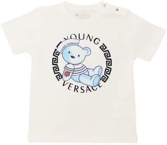 Versace Bear Logo Print Cotton Jersey T-Shirt