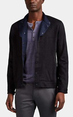 John Varvatos Men's Linen-Blend Snap-Front Shirt Jacket - Black