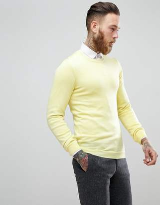 Asos Muscle Fit Merino Wool Sweater In Pastel Lime