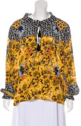 Saloni Silk Floral Print Blouse w/ Tags