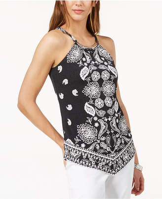 INC International Concepts I.n.c. Petite Printed Hardware Halter Top, Created for Macy's