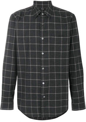 Theory relaxed flannel grid shirt