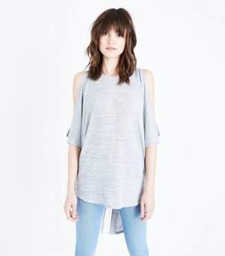 New Look Grey Crochet Back Cold Shoulder Tunic Top