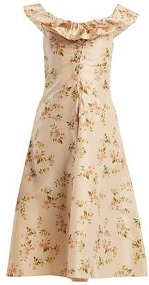 Brock Collection Dawn Off The Shoulder Silk Taffeta Dress - Womens - Beige Print